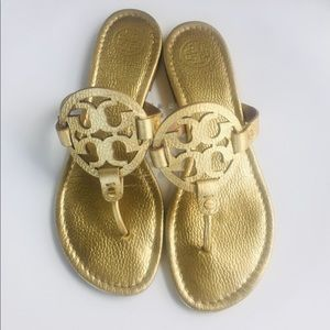 Tory Burch gold Miller sandals tumbled leather 10